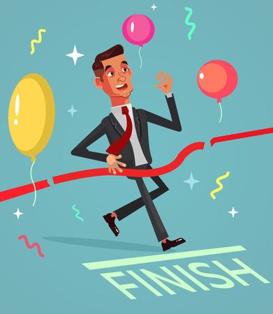 Happy smiling successful businessman. Vector flat cartoon illustration  イラスト・ベクター素材