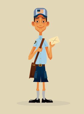 Happy smiling postman character holding envelope. Vector flat cartoon illustration Stock Illustratie