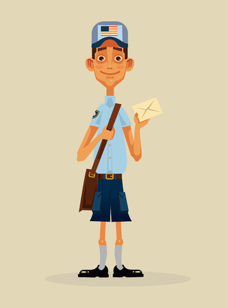 Happy smiling postman character holding envelope. Vector flat cartoon illustration Ilustração
