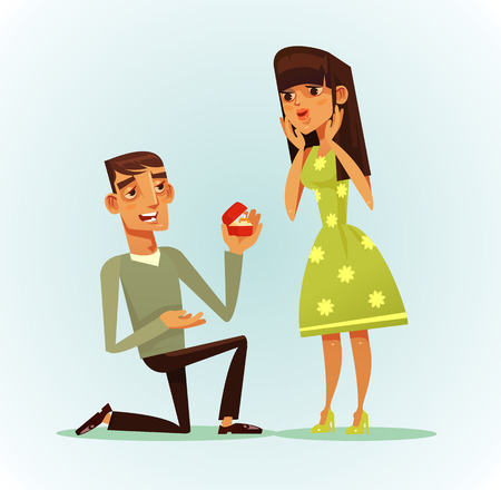 Happy smiling man. You will marry me concept. Vector flat cartoon illustration
