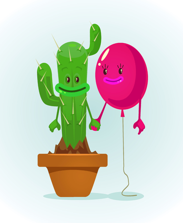 Balloon and cactus characters best friends. Vector flat cartoon illustration