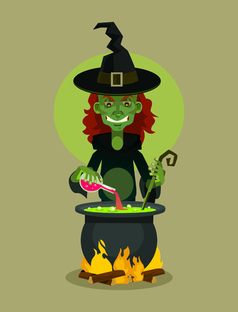 Witch character brewing potion. Vector flat cartoon illustration