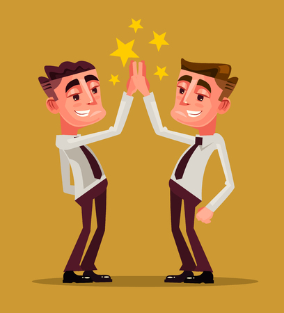 Two happy smiling office workers. Teamwork concept. Vector flat cartoon illustration