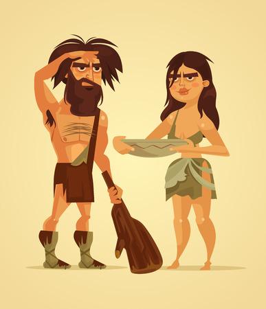 Happy neanderthals man and woman couple. Vector flat cartoon illustration