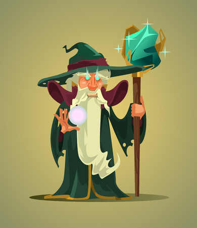 Fairy tail old wizard. Vector flat cartoon character illustration