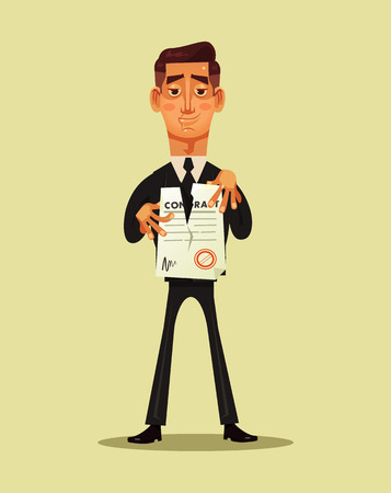 Businessman office worker break document contract. Project business finish. Vector flat cartoon illustration