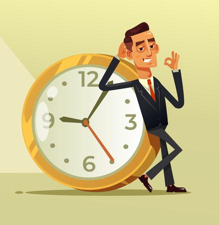 大きな時計の上に座っている幸せな穏やかなビジネスマンのサラリーマンは、OKのため息を示しています。停止時間クロック組織の概念。ベクターフ