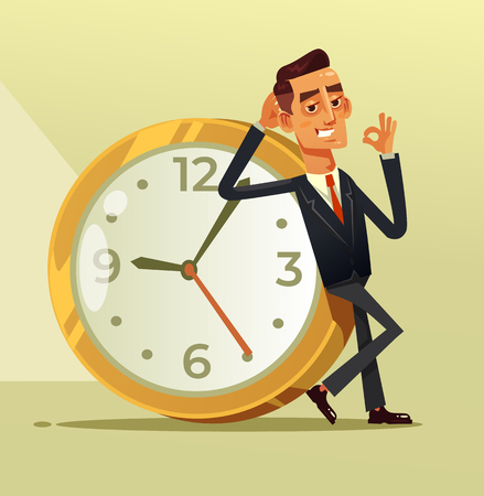 Happy calm businessman office worker sitting on big clock a showing ok sigh. Stop time clock organization concept. Vector flat cartoon illustration