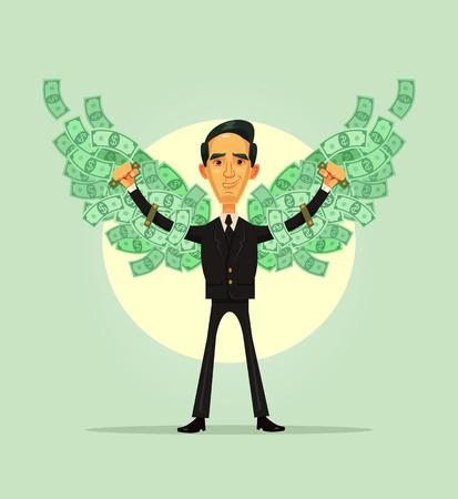 행복 하 게 웃는 풍부한 비즈니스 노동자. 재정 독립 개념입니다. 벡터 평면 만화 일러스트 레이 션 일러스트