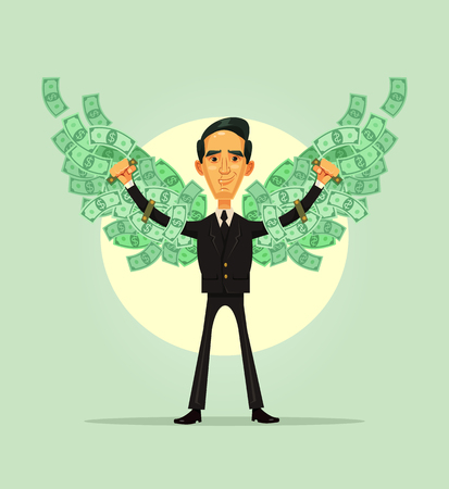Happy smiling rich business worker. Financial independence concept. Vector flat cartoon illustration