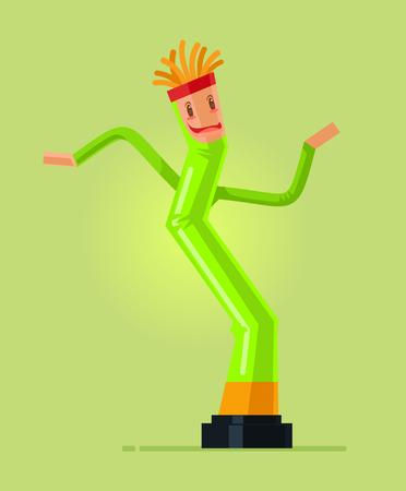Gelukkig lachend leuk opblaasbaar dans Tube karakter dansen in de lucht. Vectorillustratie platte cartoon