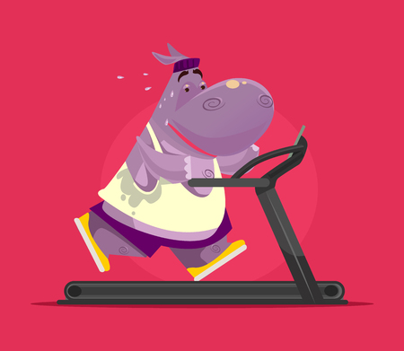 Happy smiling animal hippopotamus character running exercises running on treadmill and trying to lose weight. Obesity fat sport cardio concept. Vector flat cartoon illustration