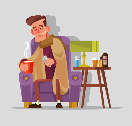 Sad unhappy felling bad sick man with flu and cold. Seasonal disease infection concept. Vector flat cartoon illustration