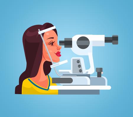 眼科医のオキュリストオフィスキャビネットで特別な医療機器で視力をチェックする女性。ベクターフラット漫画のイラスト