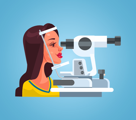Woman checking eyesight with special medical equipment in ophthalmologist oculist office cabinet. Vector flat cartoon illustration Иллюстрация