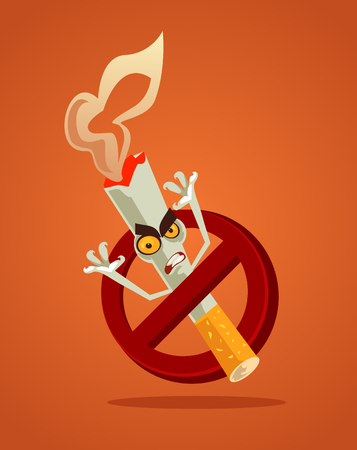 Redraw red circle. Tobacco smoke habit. Vector flat cartoon illustration Illustration