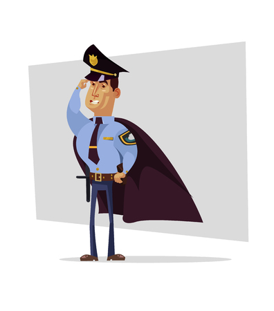 Strong brave policeman superhero character in cape. Authority justice law concept. Vector flat cartoon illustration