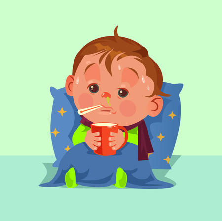 Unhappy sad ill sickness little child character have flu fever runny nose and feeling bad. Healthcare disease concept. Vector flat cartoon illustration