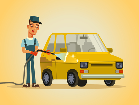 Happy smiling worker washing a car with hose foam water spray. Auto service station carwash concept. Vector flat cartoon illustration