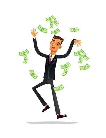 Happy smiling business man working in the air. Financial luck success fortune concept. Vector flat cartoon illustration