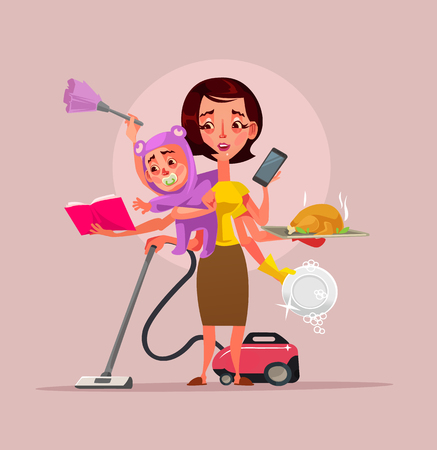 Multitasking super mother character holding baby phone food and cleaning house subjects. Vector flat cartoon illustration Stock Illustratie