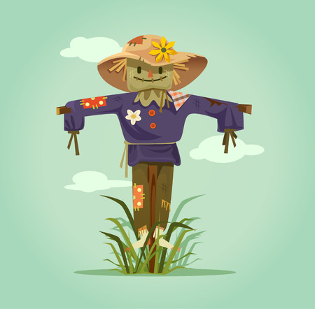 Happy smiling scarecrow character. Vector flat cartoon isolated illustration