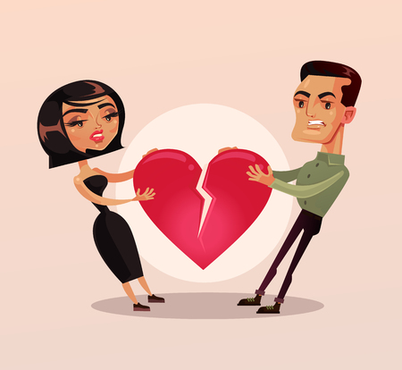Sad unhappy couple man and woman family wife and husband character quarrel and pulling heart and broke. Misunderstanding Vector flat cartoon isolated illustration Vectores
