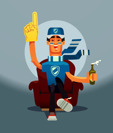 Football game fan happy smile man character sitting on home sofa and watching sport match on TV. Vector flat cartoon illustration