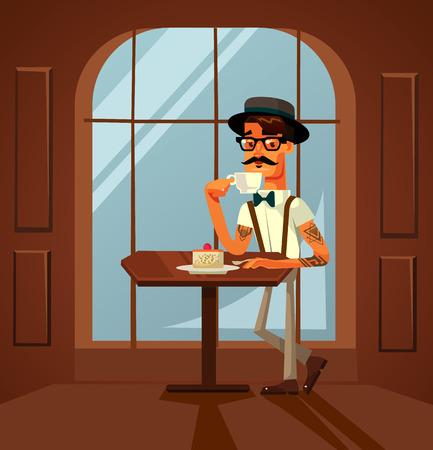 幸せな笑顔のヒップスターの男のキャラクターはケーキを食べ、カフェで朝のコーヒーを飲みます。ベクターフラット漫画のイラスト