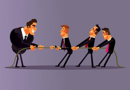 サラリーマン、人、男性、競争し、引っ張る。チームワーク競争ビジネスバトル反対。