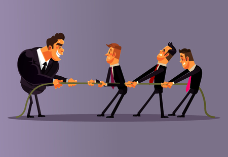 Empleados de oficina, personas, hombres, compiten y tiran. Trabajo en equipo competencia negocio batalla oposición.
