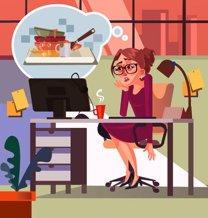 Sad unhappy woman secretary thinking about home work dirty dishes. Vector flat cartoon illustration Ilustracja