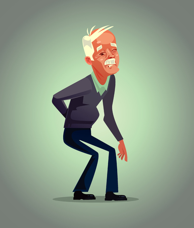 Old man grandpa character have back pain. Osteoporosis retirement suffering concept. Vector flat cartoon illustration Vettoriali