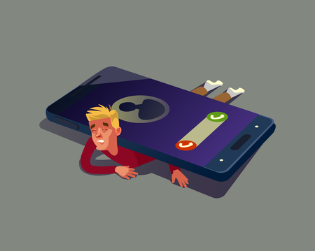 Man character depend on mobile phone Vector flat cartoon illustration