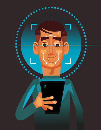 User man character holding smart phone and scanning face. Biometric facial data authorization identification protection technology unlock concept. Vector flat cartoon illustration