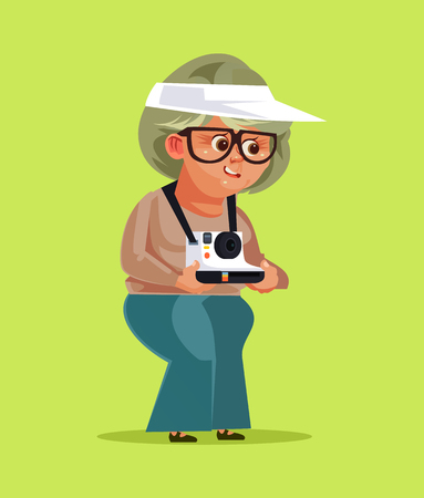 Happy smiling old woman. Travel concept vector illustration. Vector flat cartoon isolated illustration