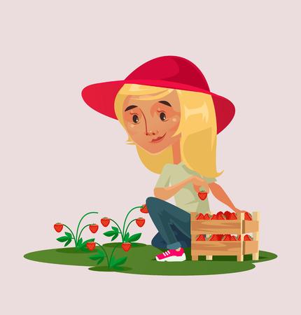Little happy smiling girl farmer gardener character picking strawberry berry in basket on green field. Garden village farm summer harvest concept. Vector flat cartoon isolated illustration