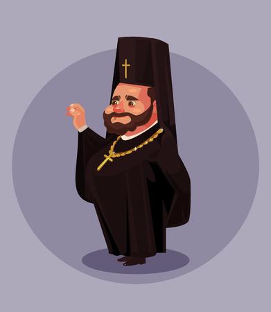 黒いドレスの制服のスーツを着た笑顔の古いひげ正統派の司祭牧師教皇ビショップドレス。宗教の概念。ベクターフラット漫画孤立イラスト  イラスト・ベクター素材