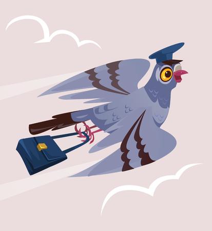 Feliz sonriente paloma paloma pájaro cartero courier personaje Entrega comunicación franqueo servicio transporte correo electrónico. Vector de dibujos animados plana ilustración aislada diseño gráfico Ilustración de vector
