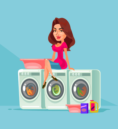 Happy smiling housewife mother woman character. Housework household equipment concept. Vector flat cartoon isolated illustration Ilustração