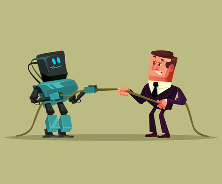 Human man office worker manager on a Technology futuristic battle. Vector flat cartoon graphic isolated illustration