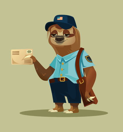 Happy smiling lazy sloth postman . Delivery communication postage service transportation email. Vector flat cartoon isolated illustration graphic design Ilustração