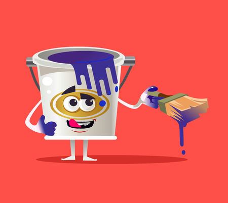 Tin paint can character mascot. Vector flat cartoon isolated illustration Ilustração