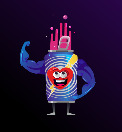 Mascot showing muscles hand. Energy power burn strength concept. Vector flat cartoon isolated illustration