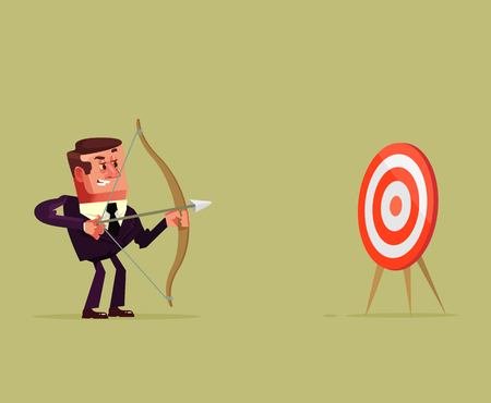 Happy smiling successful businessman office worker entrepreneur manager aim point and shoot arrow bow target direction center.