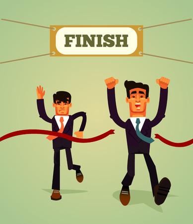 Happy smiling businessmen racing. Marathon goal concept. Vector flat cartoon illustration