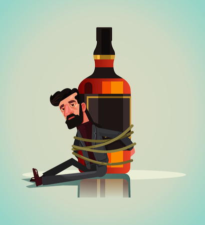 Unhappy sad alcoholic manic man tied to whiskey. Alcoholism addict concept vector illustration.