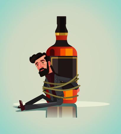 Infeliz triste hombre alcohólico maníaco atado al whisky. Ilustración de vector de concepto de adicto al alcoholismo.