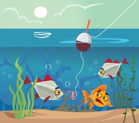 Fish at bottom looking at worm bait hook. Fishing water sea lake concept. Vector flat cartoon illustration Illustration