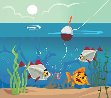 Fish at bottom looking at worm bait hook. Fishing water sea lake concept. Vector flat cartoon illustration Vettoriali